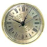 HILLHOME Mini-Uhr-Einsatz 110 mm runde Quarz-Uhr Fit-Up Uhrwerk Miniatur-Uhr goldfarbenes Zifferblatt goldfarbene Lünette römische Ziffern passen 3,7 Zoll (94 mm) Durchmesser Loch