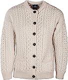 Arran Woolen Mills Irischer Wollfäller-Cardigan-Pullover aus Wolle (Natürlich, S)