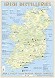 Whiskey Distilleries Ireland - Tasting Map 24x34cm: The Whiskey Landscape of Ireland in Overview: The Whiskylandscape in Overview - Maßstab 1:1.650.000