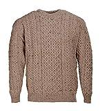 100% Reine Wolle Aran Pullover Hafer, Haferflocken, L