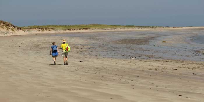 Irlands Eiwohner: Zwei Menschen gehen an einem einsamen Strand spazieren.